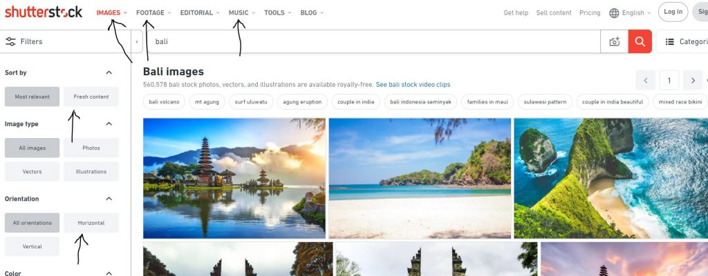 All options in Shutterstock.